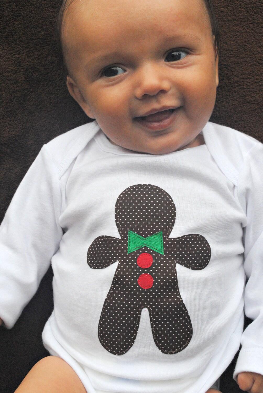 Sweet Gingerbread Boy Baby Bodysuit - Holiday Christmas Baby Toddler Shirt