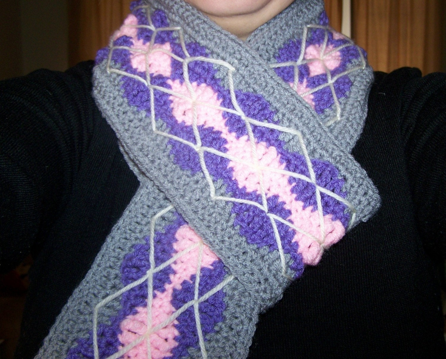 Crochet Argyle Scarf PDF Pattern by mama24boyz on Etsy