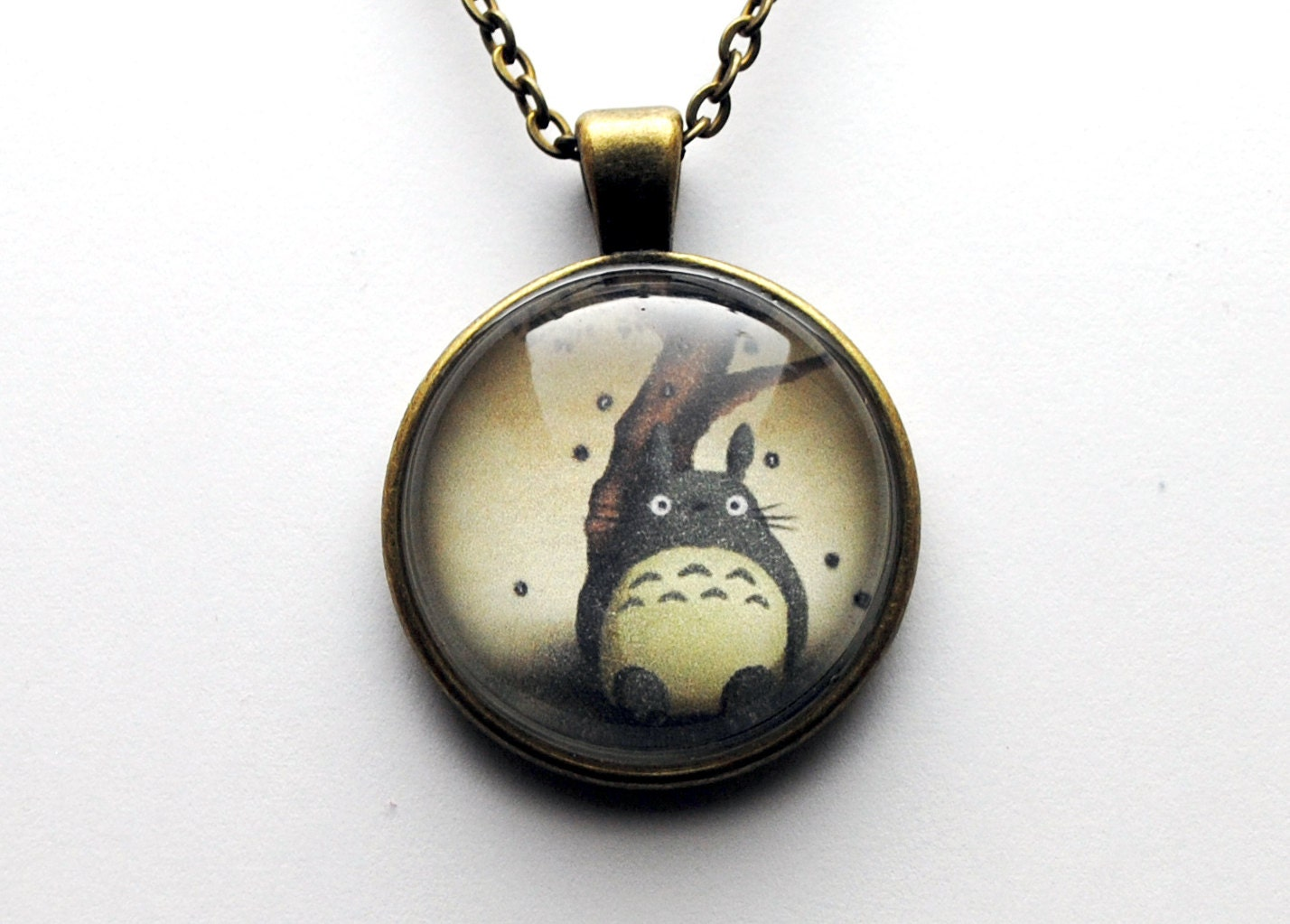 Totoro Glass Dome Necklace in Antique Bronze - NerdyTreats