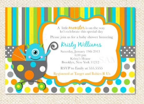 Monster Baby Shower Invitations and get inspiration to create nice invitation ideas