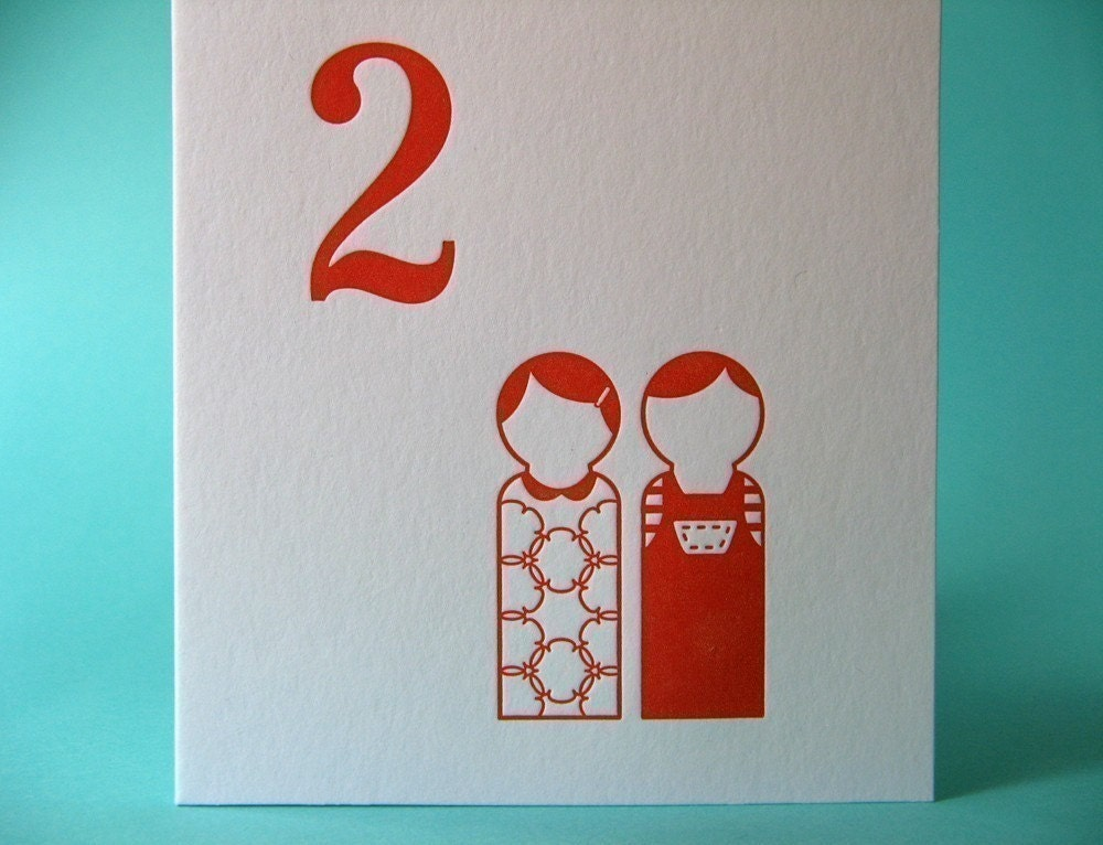 letterpress stationery card printed on recycled paper - two people