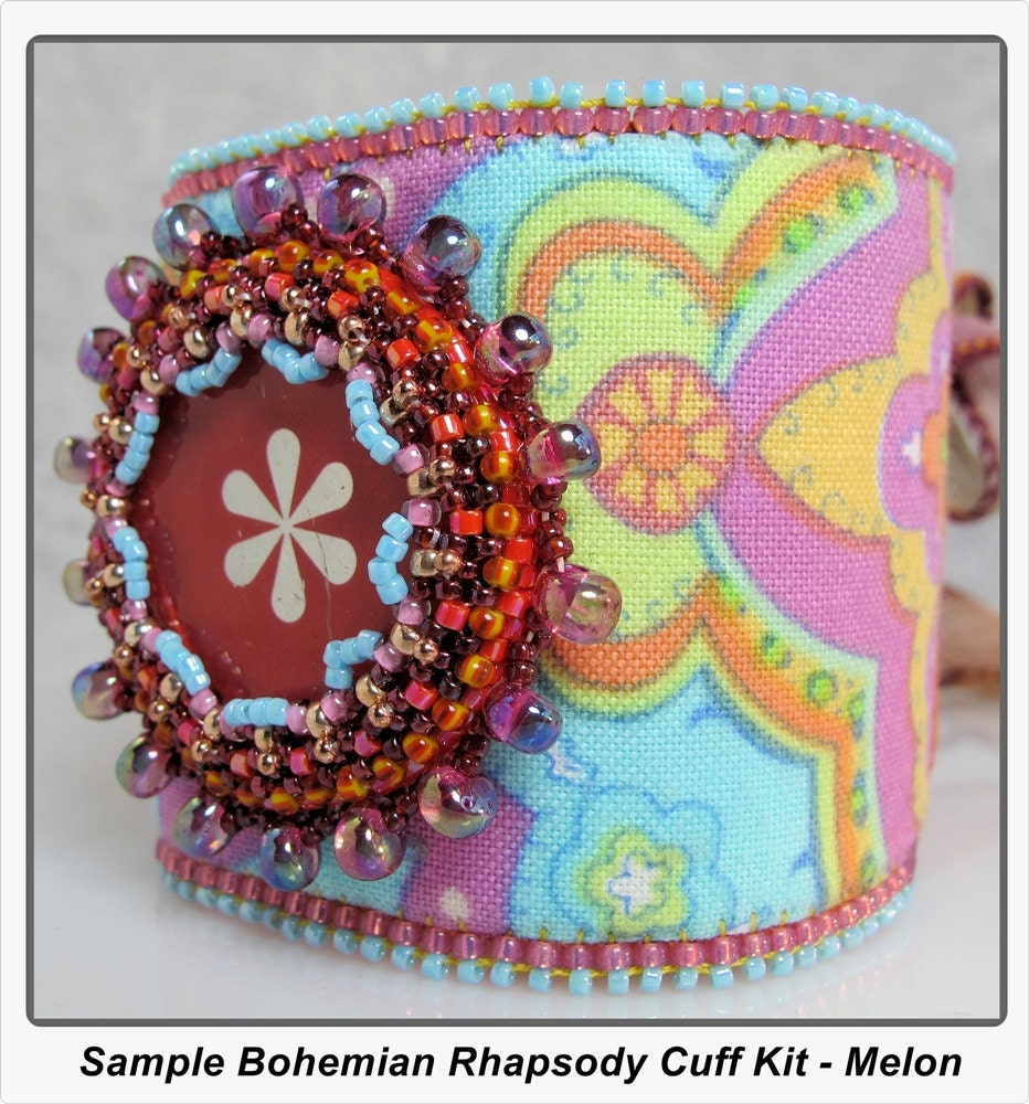 Bead embroidery kit bohemian rhapsody cuff by brewedadornments