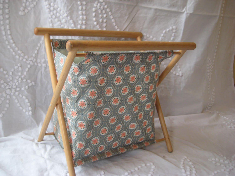 Vintage Folding Knitting Basket : Folding knitting basket vintage sewing by