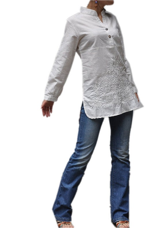 Slim elegant V Neck long sleeved shirt