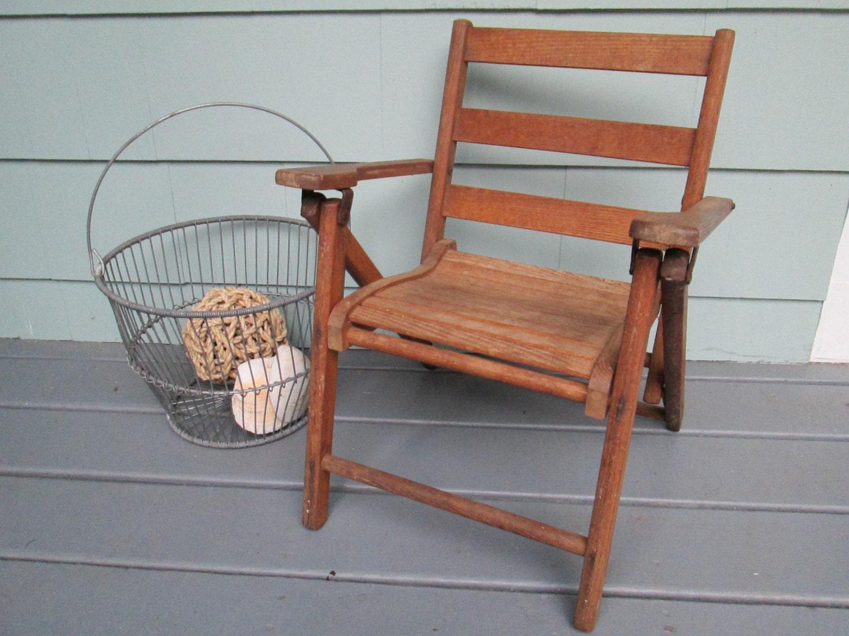 Child s Folding Wooden Beach Chair Vintage by SundriesandSalvage