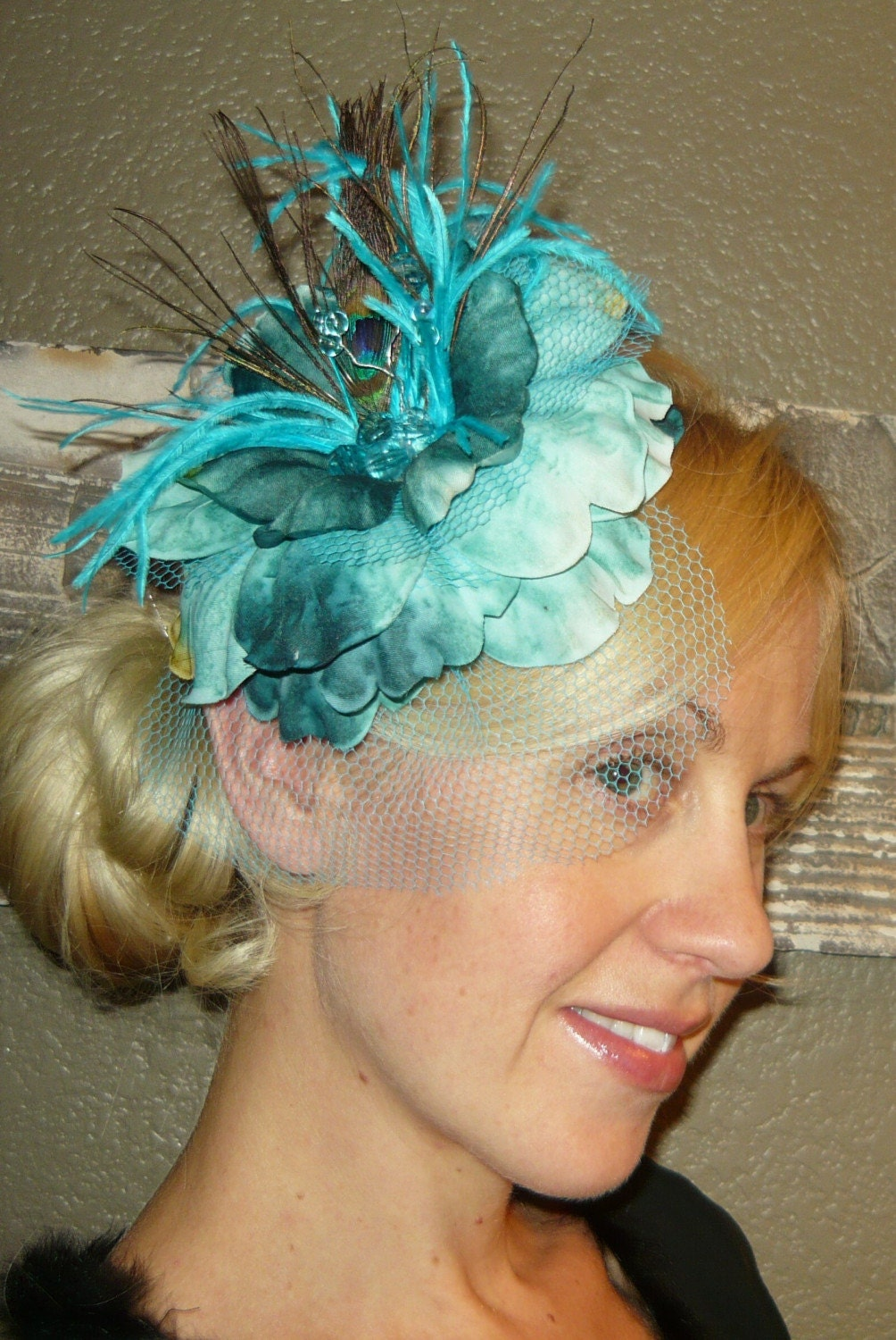 Aqua Flower Fascinator comb or hair clip with Peacock Feathers by starzselection