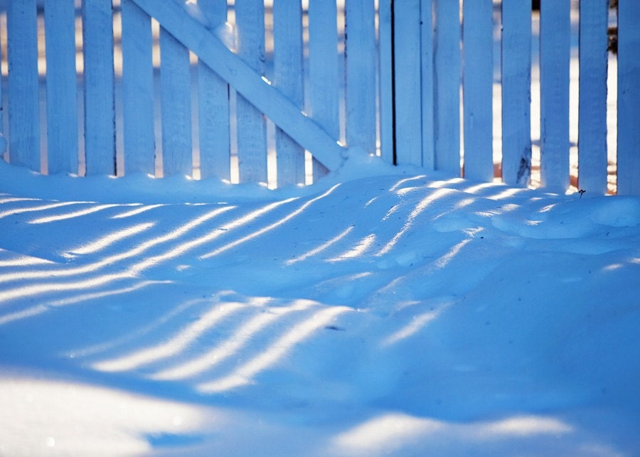 white picket snow fence 5x7 fine art photography