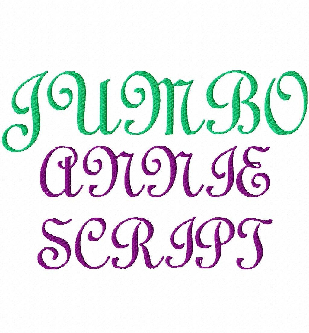 JUMBO Annie Script Machine Embroidery Font Sizes By