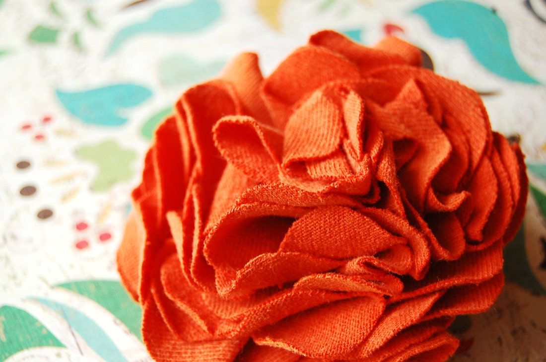 Burnt Orange Carnation Corsage - Repurposed T-shirt
