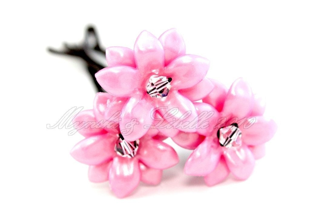 Frosted Pink Lucite and Swarovski Flower Bobby Up Pins - DONATED by Mynski and Libelle