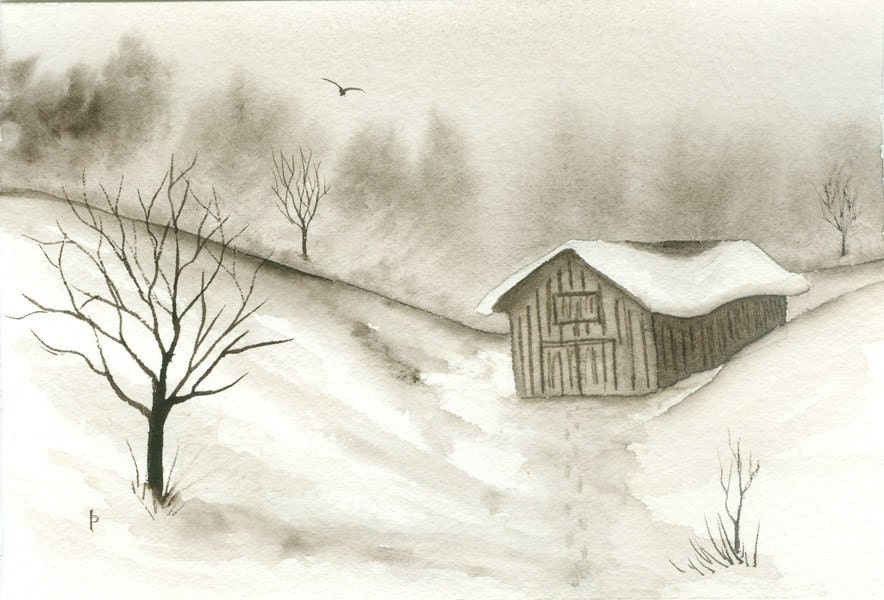 vintage SNOW watercolor landscape