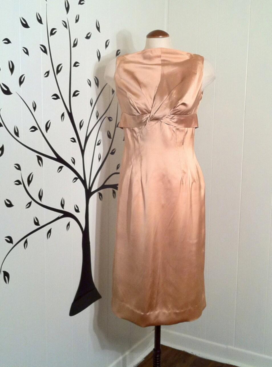 Vintage 1950s Apricot Satin Wiggle Dress