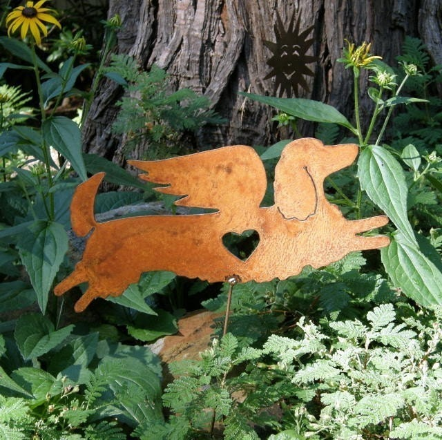 Rusty Finish Long Haired Dachshund Dog Angel Memorial Garden Art Stake