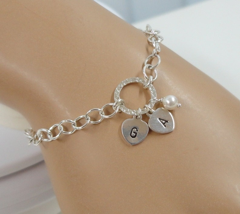 initial charm bracelet sted sterling by sivadostudio
