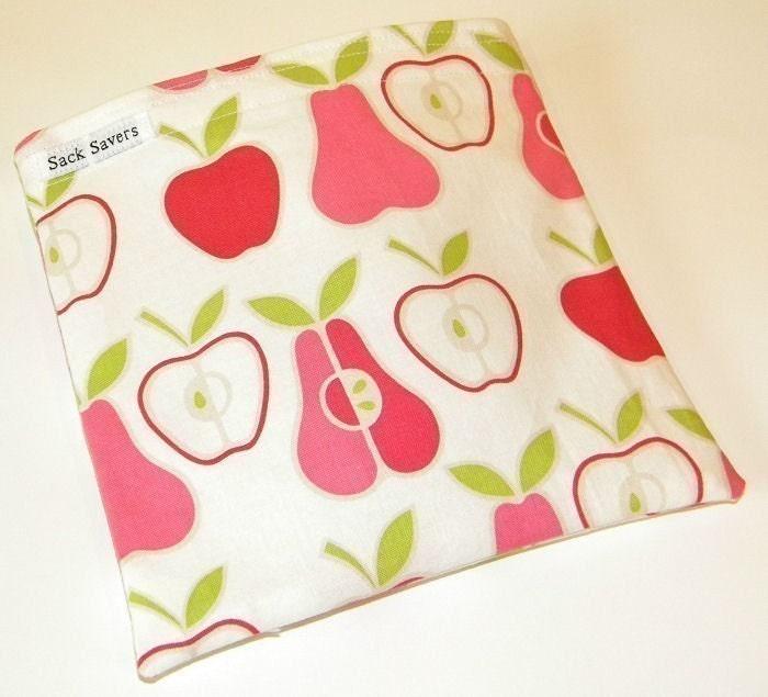 Apples and Pear Eco Friendly Reusable Handmade Sandwich Bag