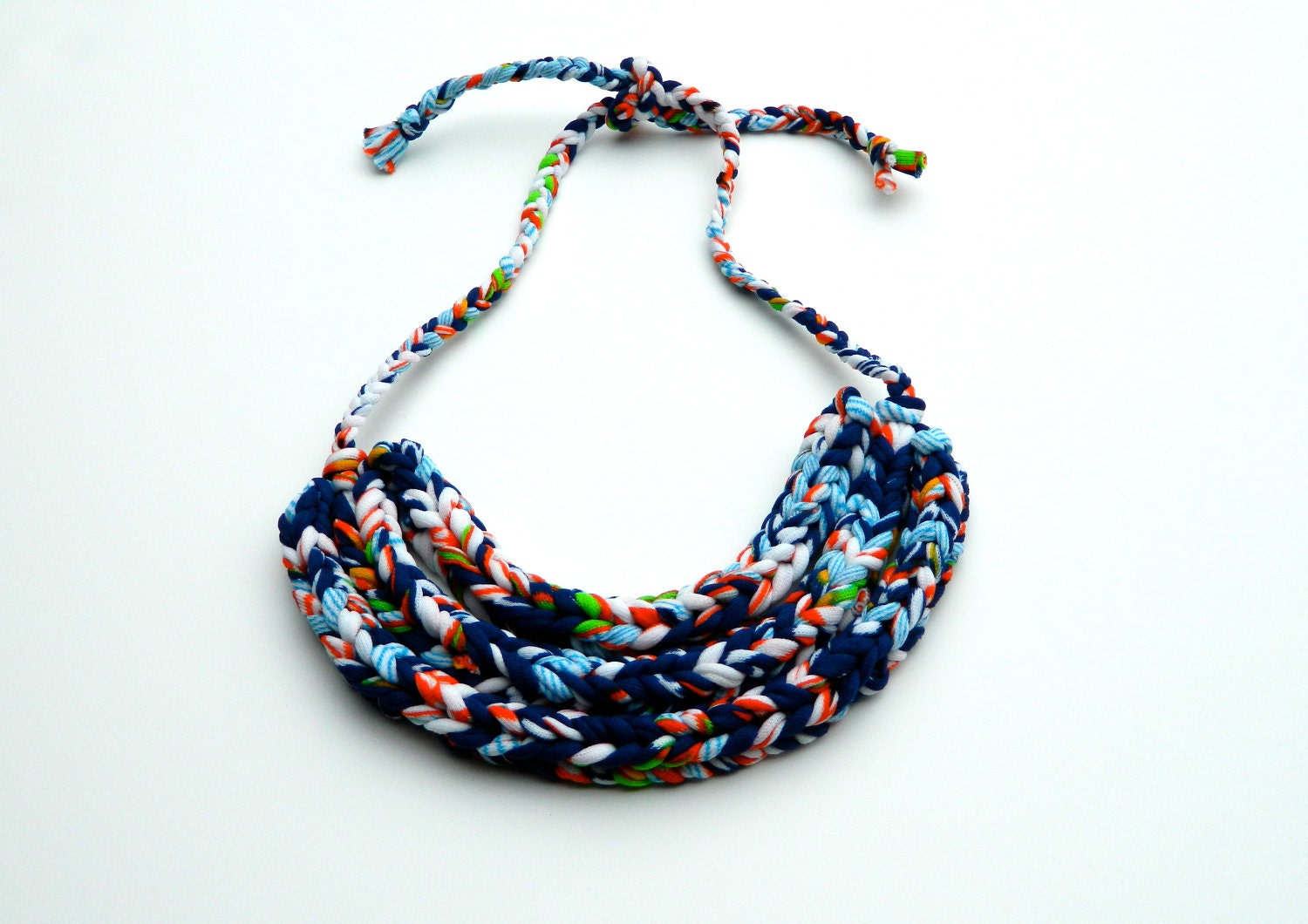 Statement Necklace Jewelry Upcycled Triple Braided Vintage Floral Fabric