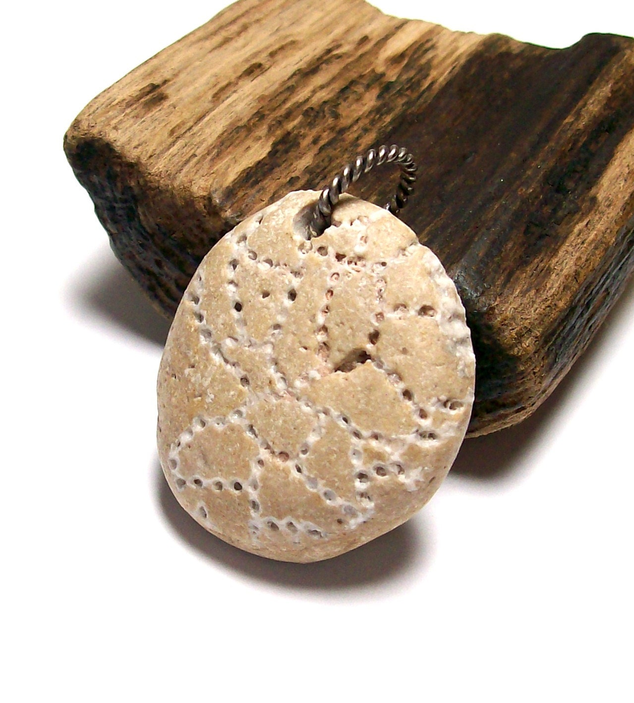 Cross Stitch - Genuine Drilled Beach Stone - RARE Chain Coral Fossil - Large Pendant