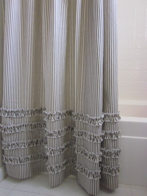 Vintage Ticking Stripe Shower Curtain With By ModernFolkShop