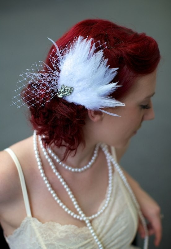 Isla ... Bridal Feather Fascinator with Vintage Rhinestones
