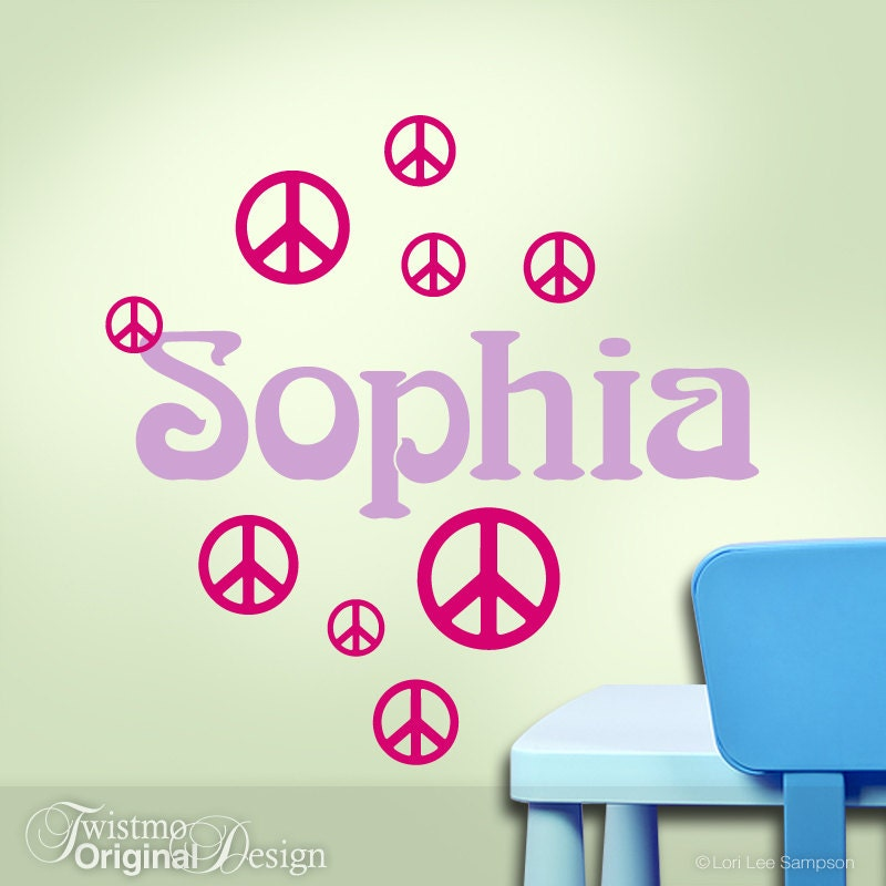 Counter Culture Peace Sign Wall Decal - Hippie Custom Name Wall Art ...