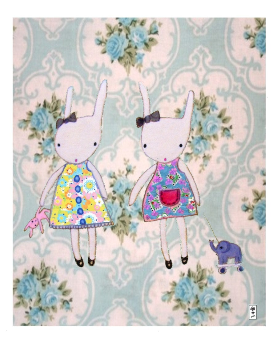 Two Bunnies Art Print 10 x 8