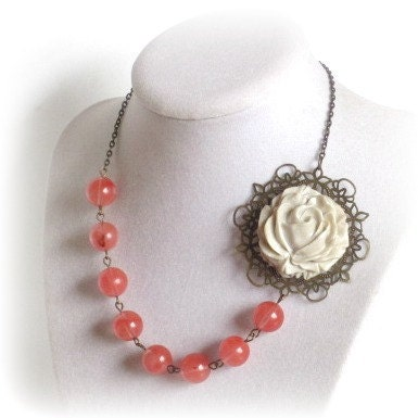 Necklace with Vintage Flower Rose Pearls & Brass by SnobishDesign from etsy.com