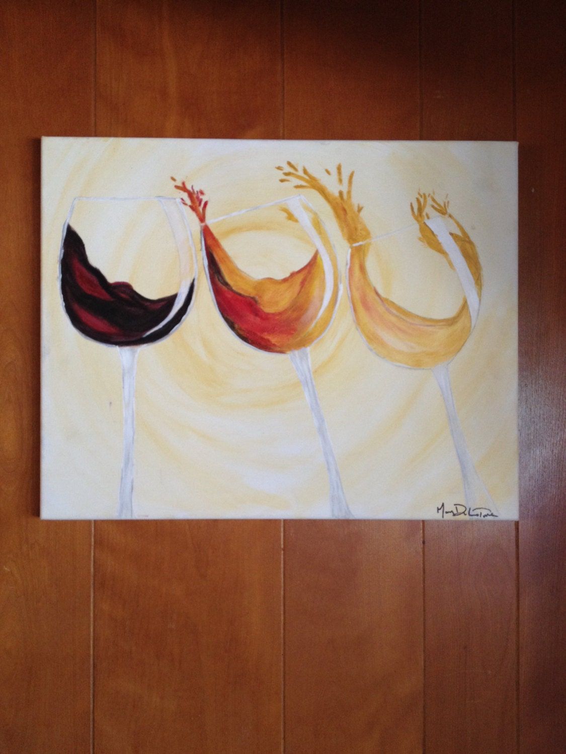 Items similar to origional oil and acrylic painting of for Acrylic paint on wine glasses