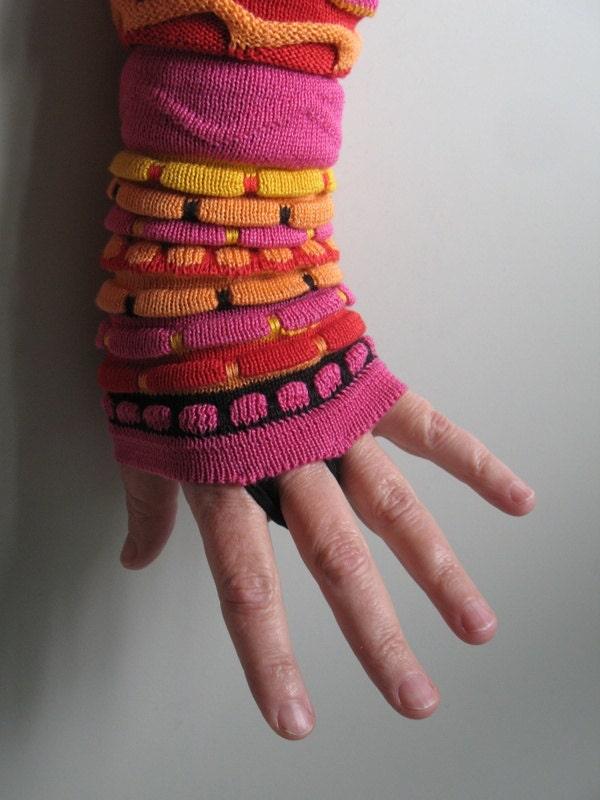 Multicolored fingerless gloves - kledingvankobi