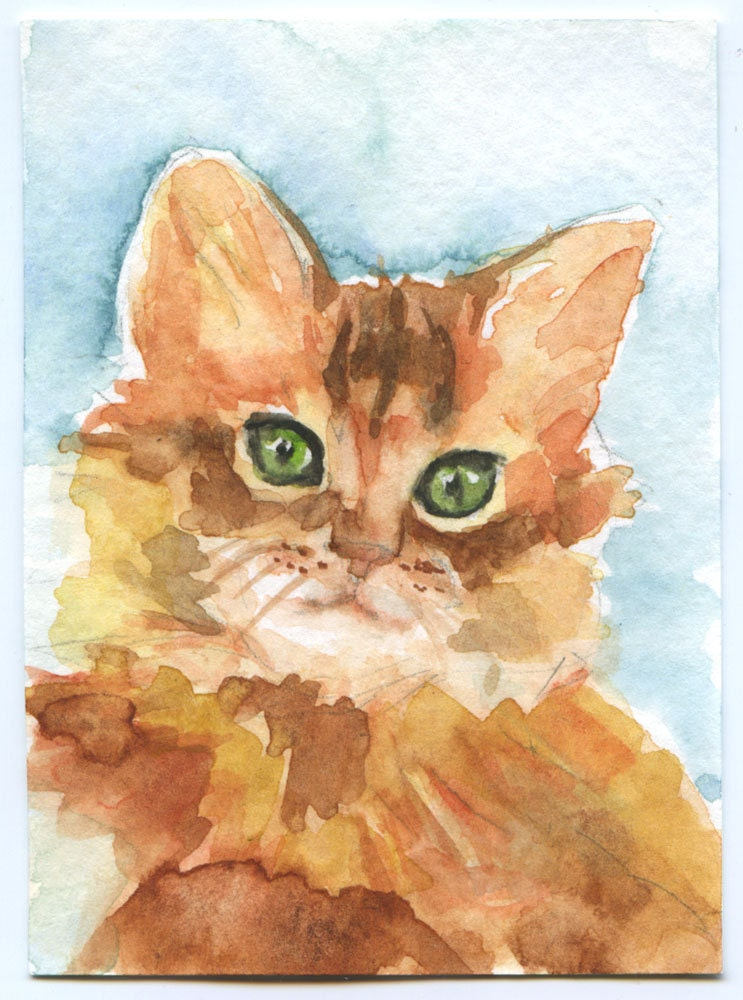 Cat ACEO Watercolor Original Painting