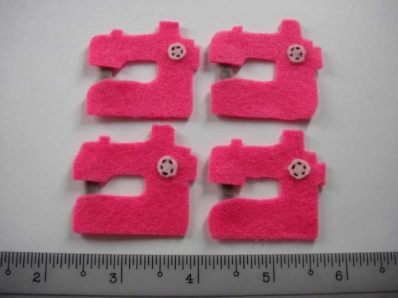 Felt Applique - SEWING MACHINE - 4 PCS - Handmade