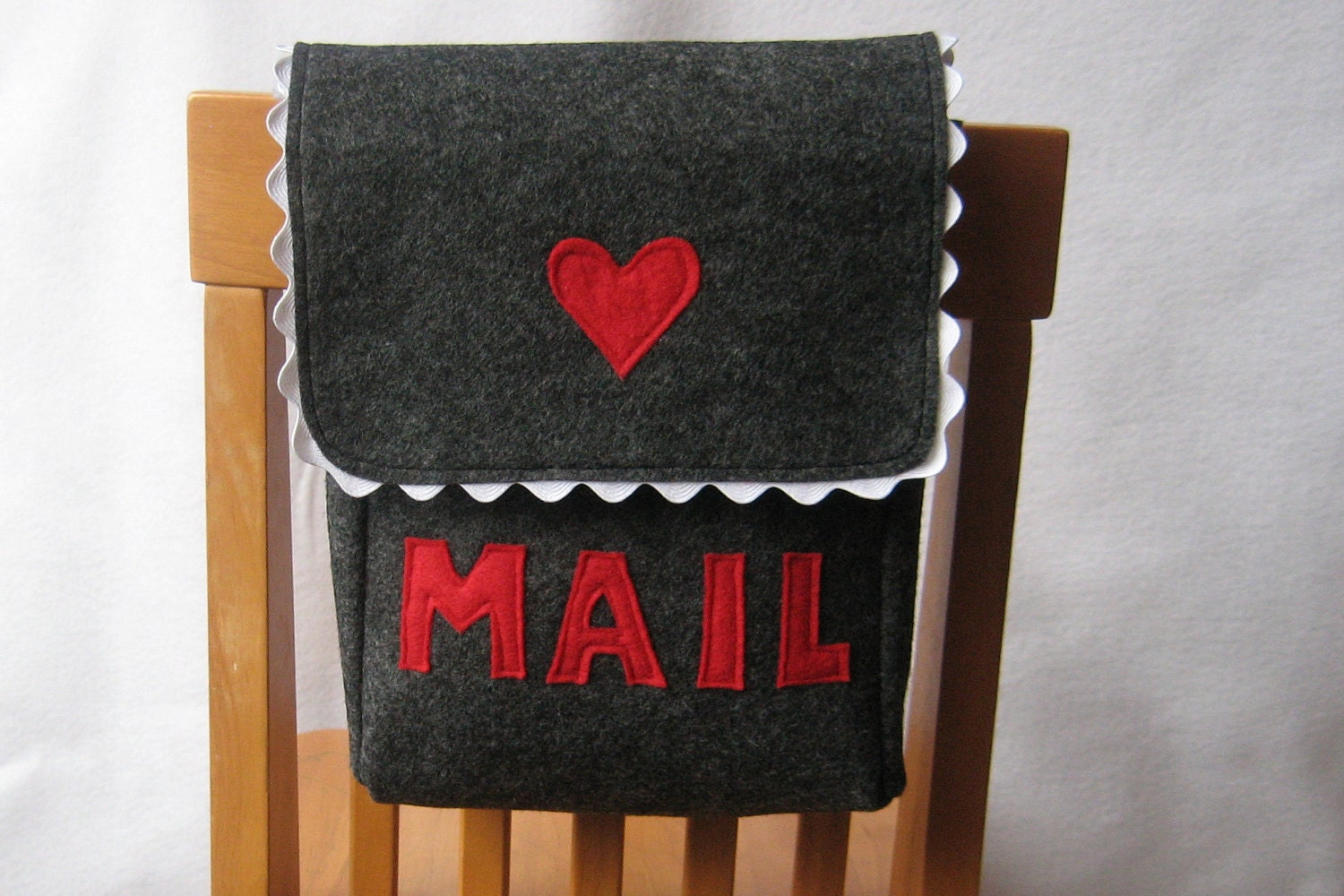 Chair Backer, Mailbox Style, Charcoal Grey with Red and White Accents or Choose Your Colors