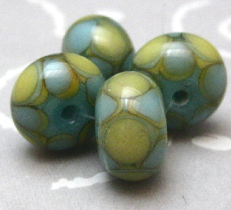 Harlequin Dot Handmade Glass Lampwork Beads Turquoise and Pale Gold