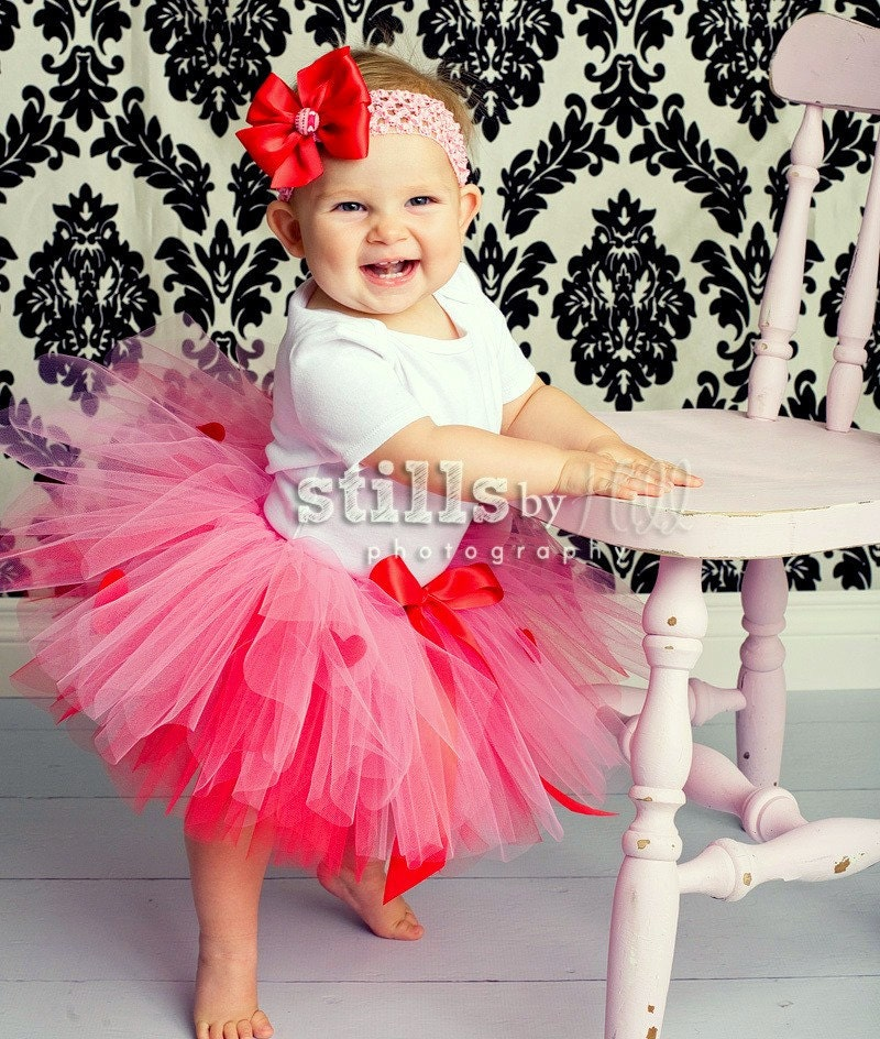 Hearts on Fire tutu set with headband, Infant size up to 2 years, Photo Prop, Portraits, Babys first Valentines Day red and pink
