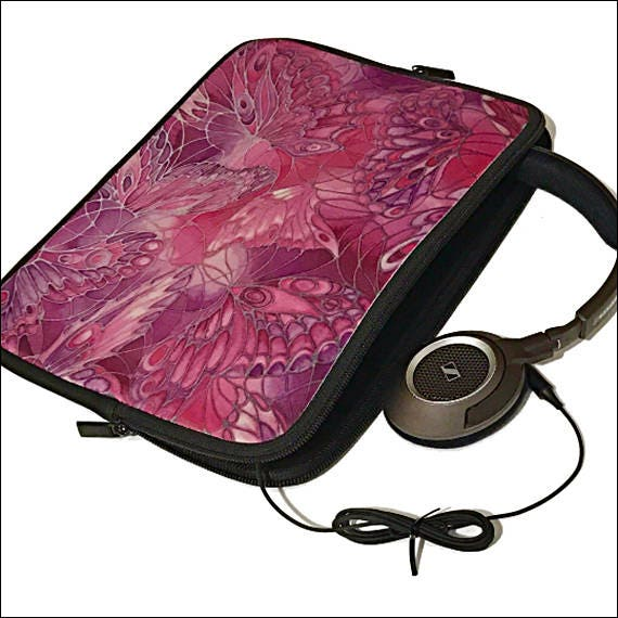 Pink Protective iPad Case  Plum Mini Laptop Cover  Purple Large Earphones Pouch  Butterfly Plug and Cables Tidy  Credit Card Machine Bag