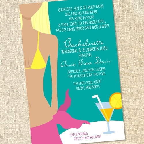 20 Bridal Shower Lingerie Bachelorette Beach Pool Party Invitations ...