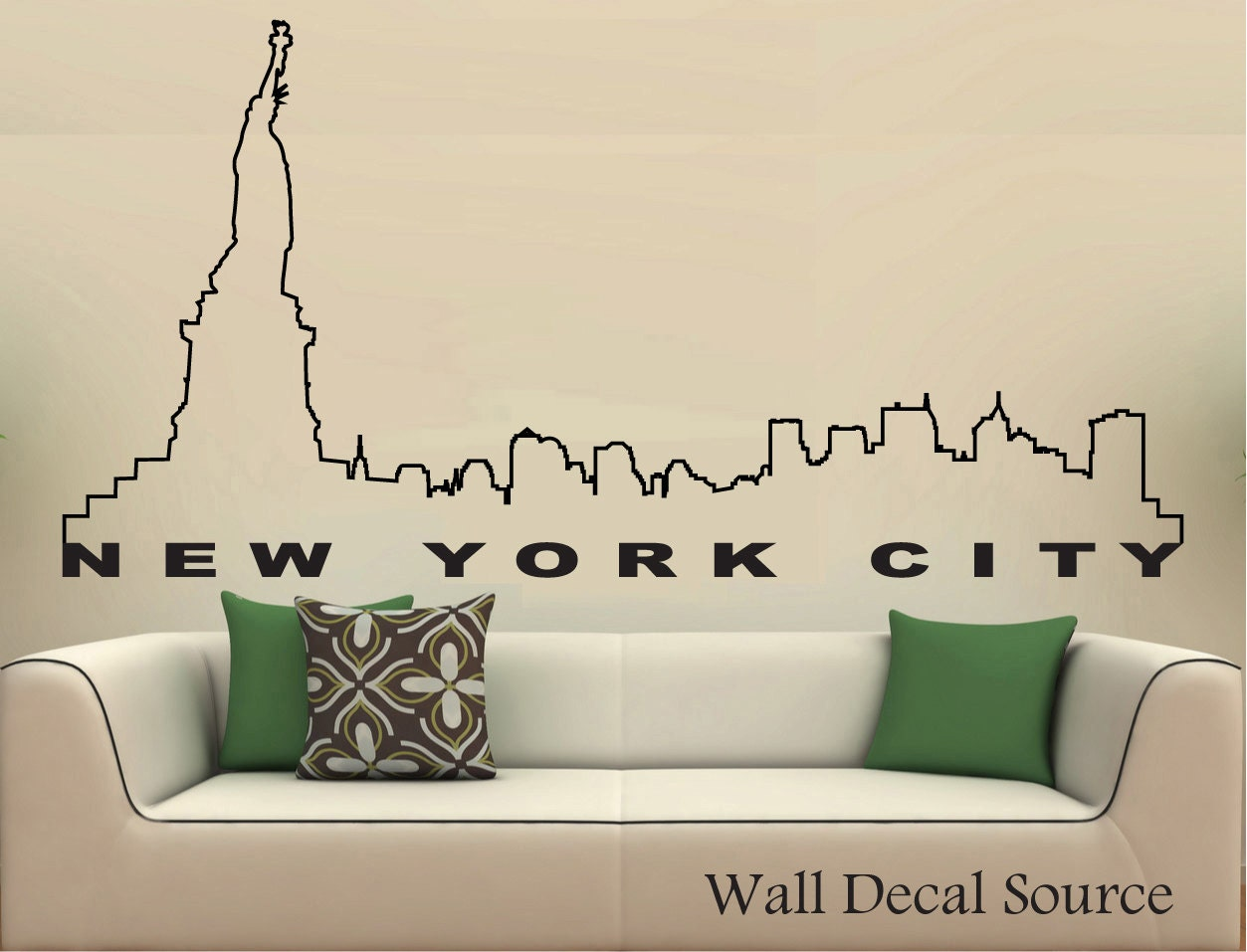 New York City Skyline Wall Decal Wall Vinyl By WallDecalSource