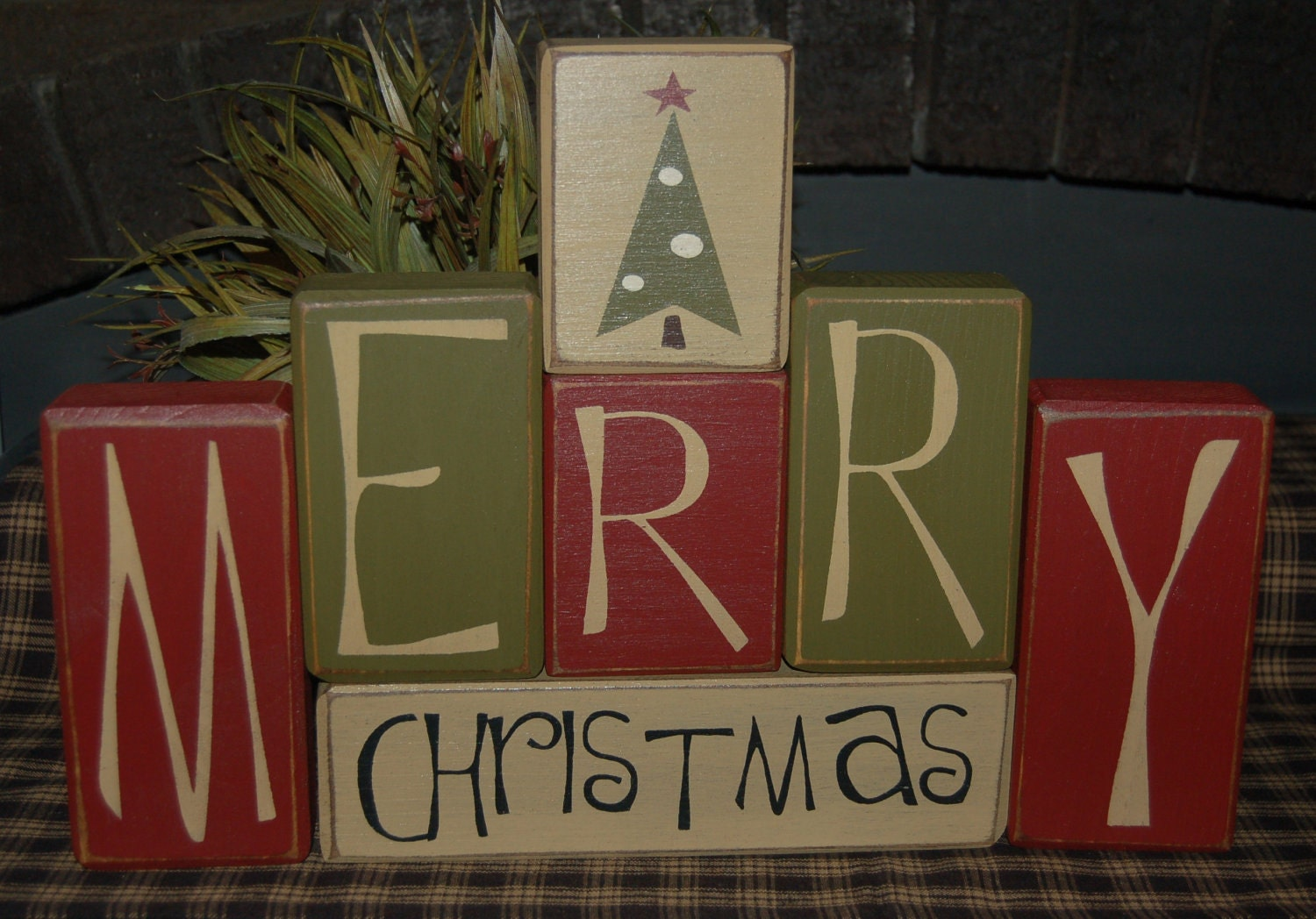 Merry Christmas Santa Tree Wood Sign Shelf By