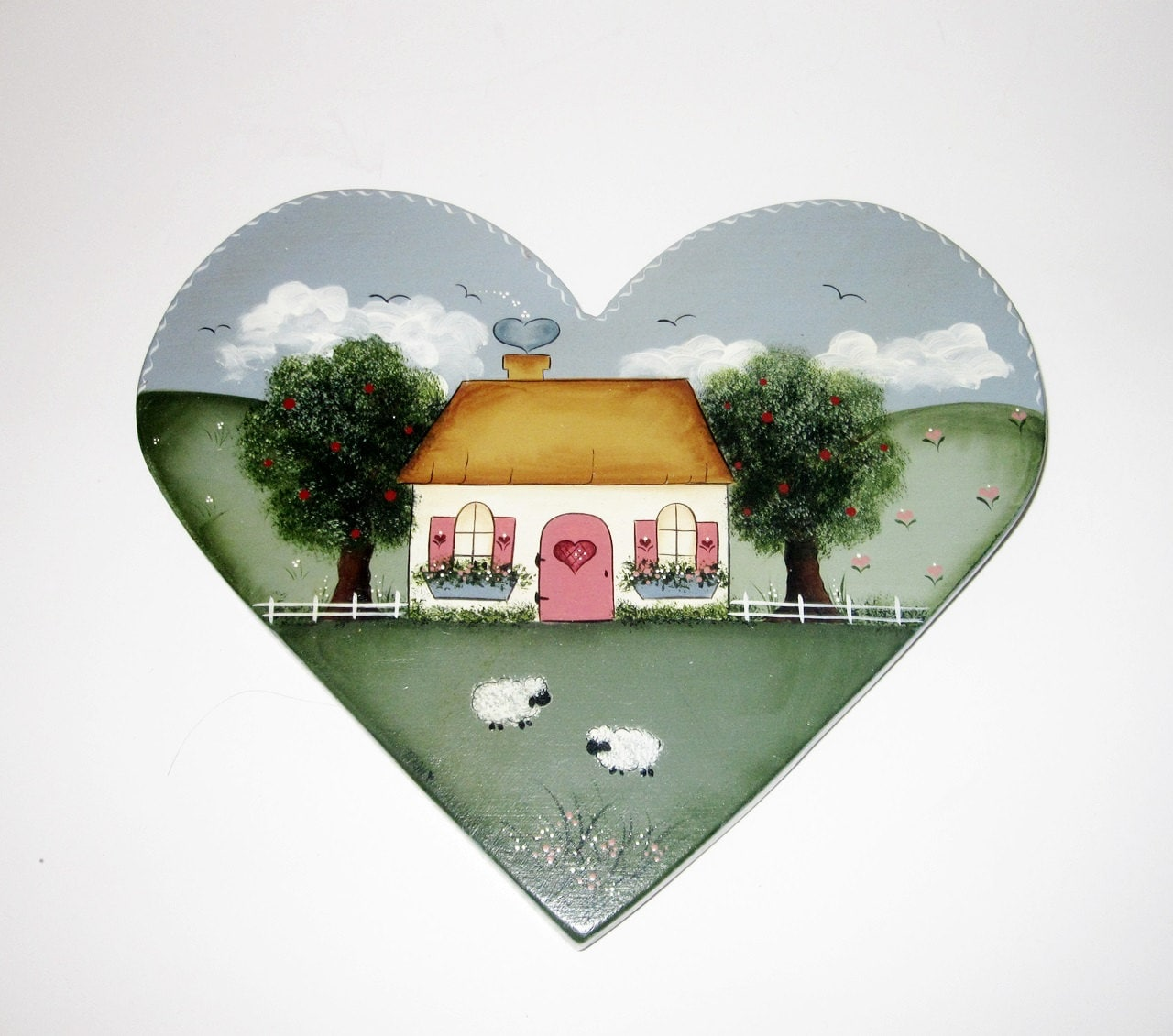American Folk Art Wooden Heart Wall Hanging