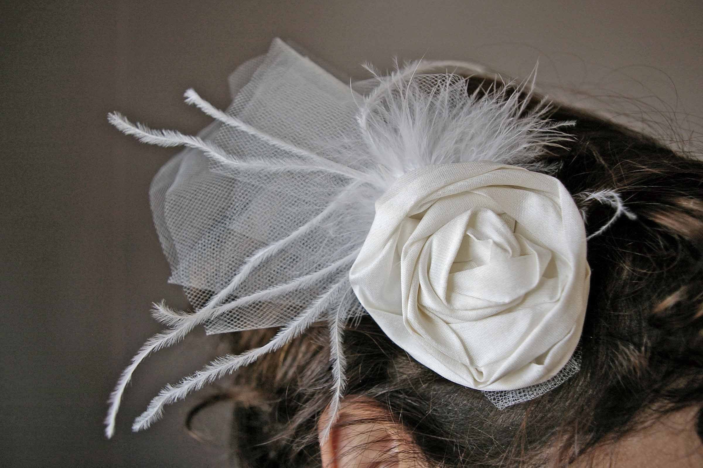 Silk Flower and Feather Fascinator