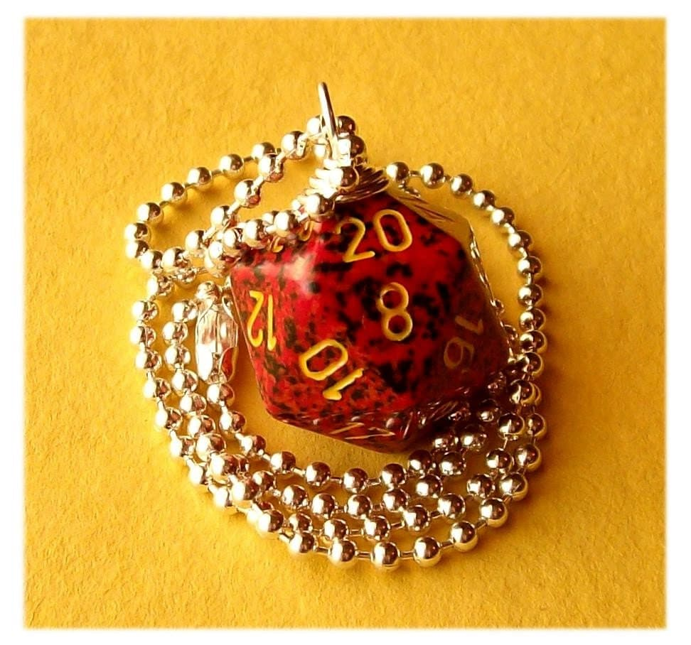 geekery, dice, die, geek, game, dnd, jewelry, necklace, pendant, dungeons dragons, pawandclawdesigns, red, black, yellow