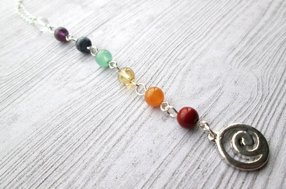 Chakra necklace Chakra jewelry Chakra jewellery Seven Chakras pagan jewelry wiccan jewelry pagan necklace wiccan necklace Spiral