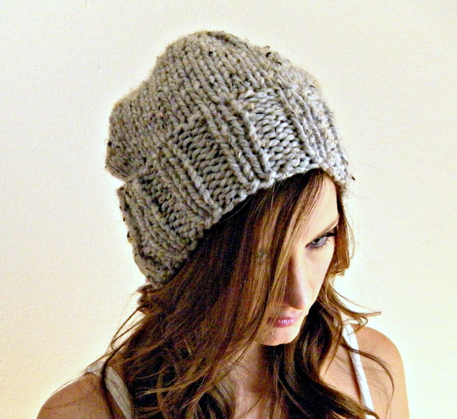 Knit womens hat grey slouchy hat gray marble