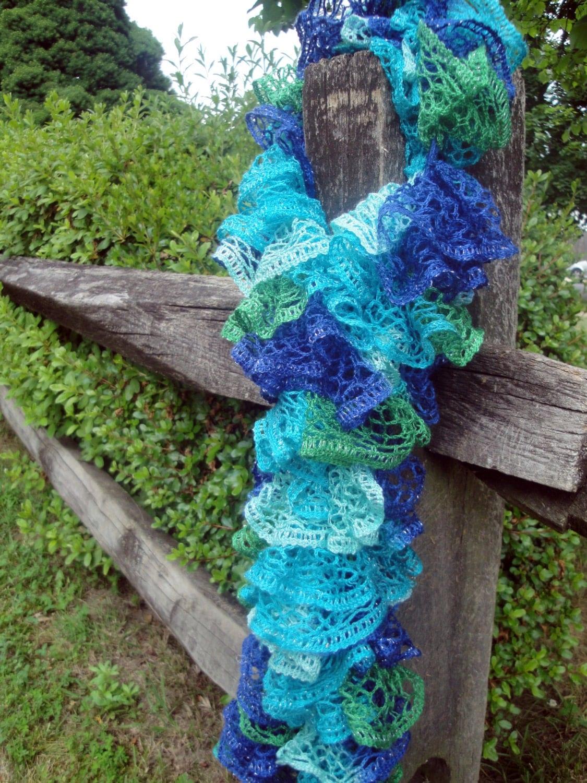 items similar to knit sashay yarn knit ruffle scarf