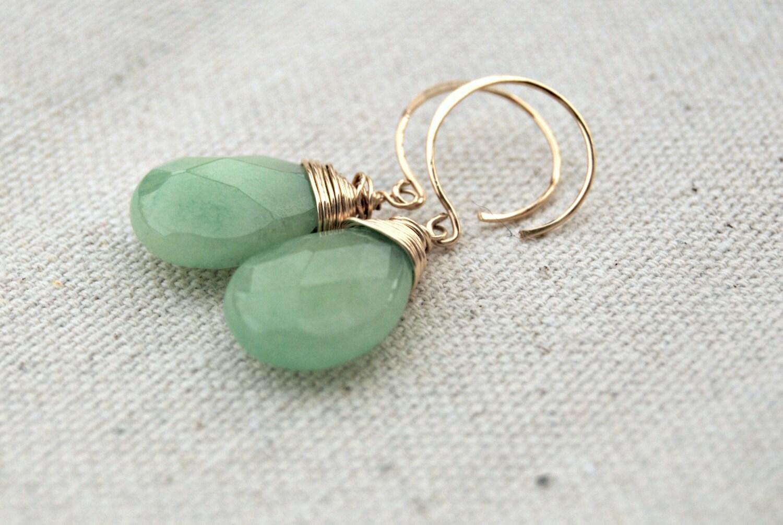 pomme... gold jade earrings / apple green jade & 14k gold filled earrings - AveryBethDesigns