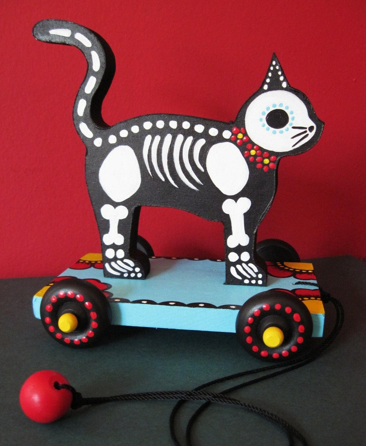 Day of the Dead CAT PULL TOY Vintage Style