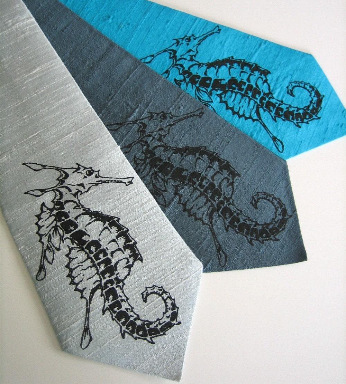 Seahorse Silk Tie   Choose Your Color