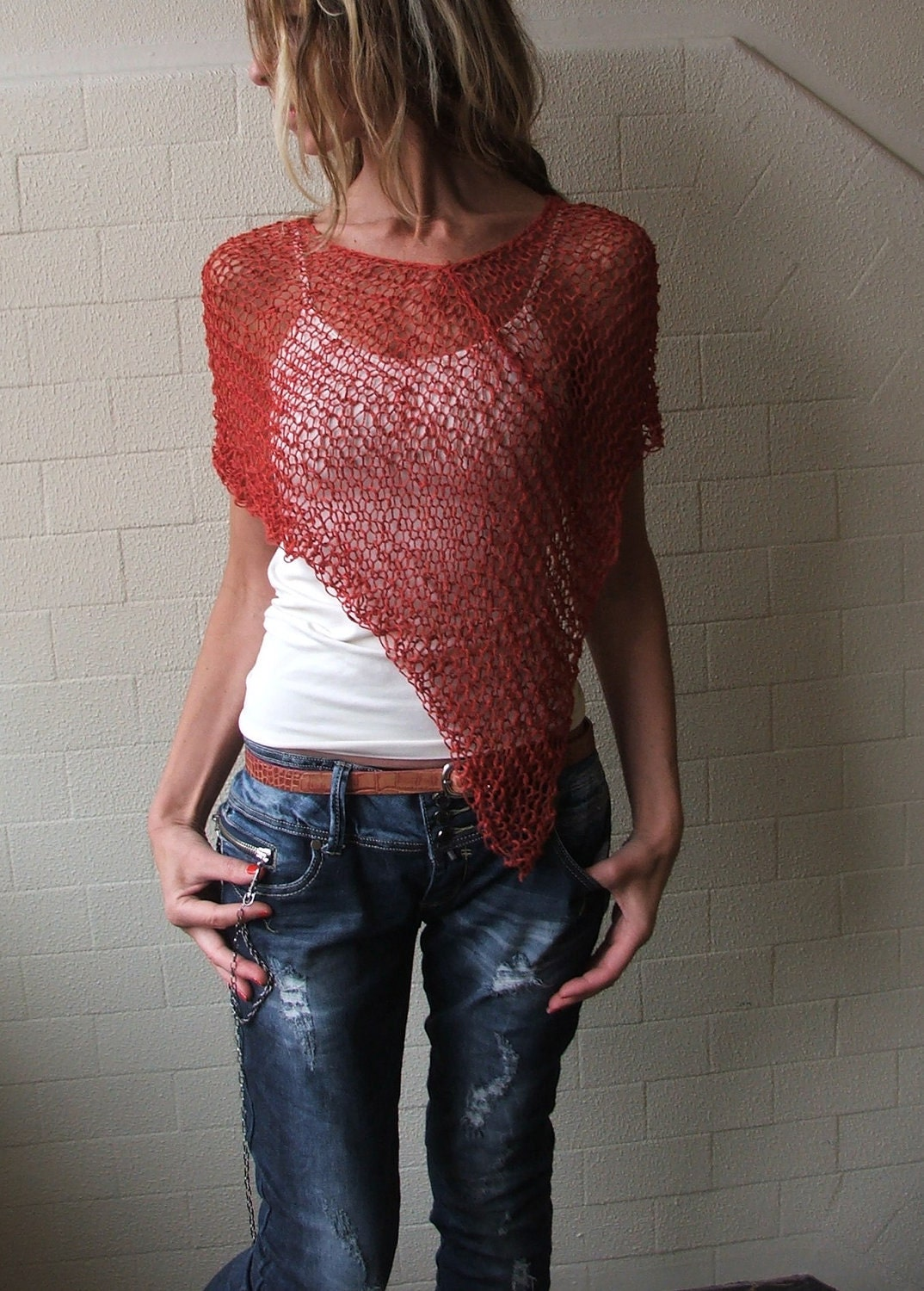 Terracotta red summer poncho