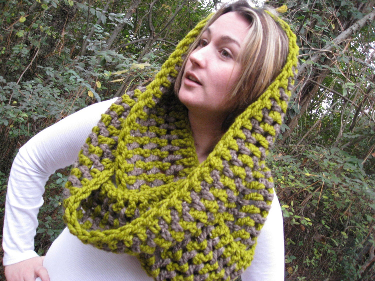 Chunky Cowl in Lemongrass and  Heathered Chocolate - Lambswool - Soft and Warm