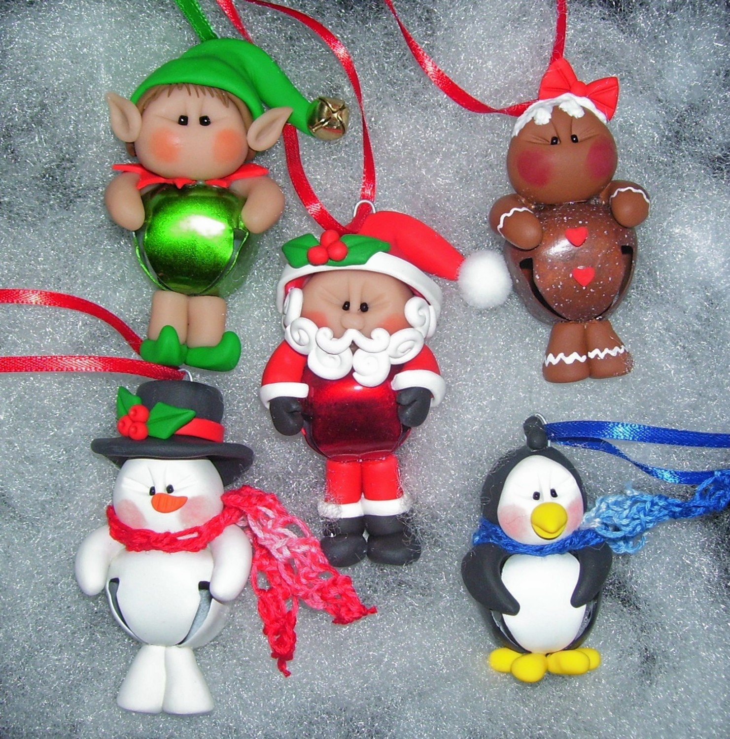 Elf Jingle Bell Buddy Polymer Clay Christmas Ornament - Free Personalization
