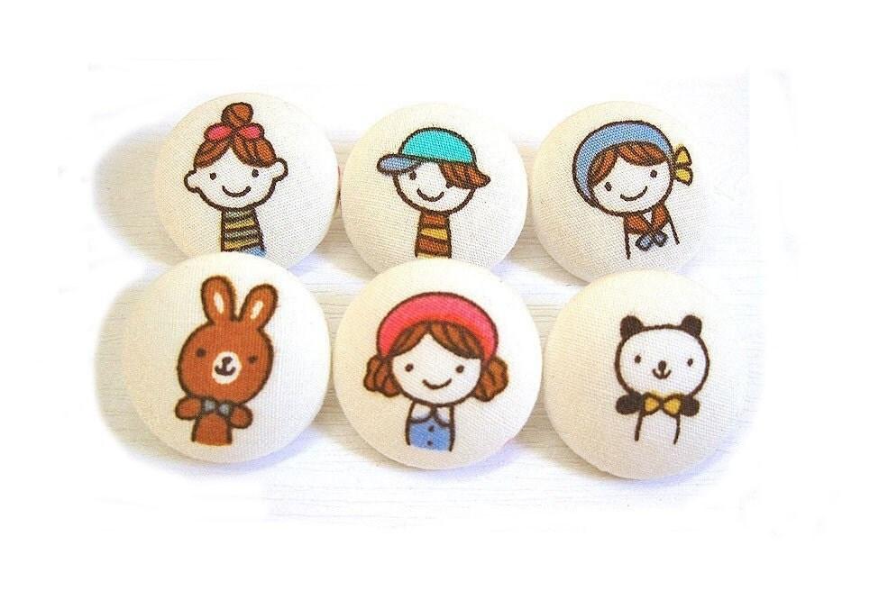 6 Средний Ткань Кнопки Set - Маленькая Мисс Япония